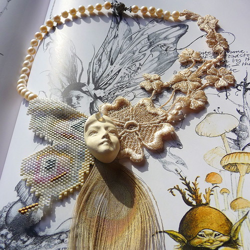 Pale Peacock Butterfly Faerie Fantasy Victorian Decoupage Necklace