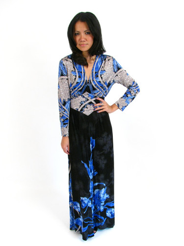 70s ELECTRIC BLUE FLORAL MAXI