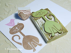 The view is good from up here (twohanddesign) Tags: bird cat paper print etsy rubberstamp notecards handprinted twohanddesign