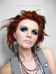 Green eyes (basistka) Tags: red woman green girl make up hair eyes poland basistka