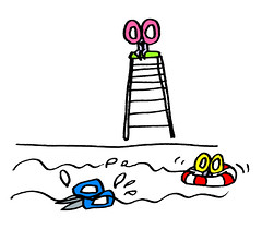 プールの監視をするハサミ
