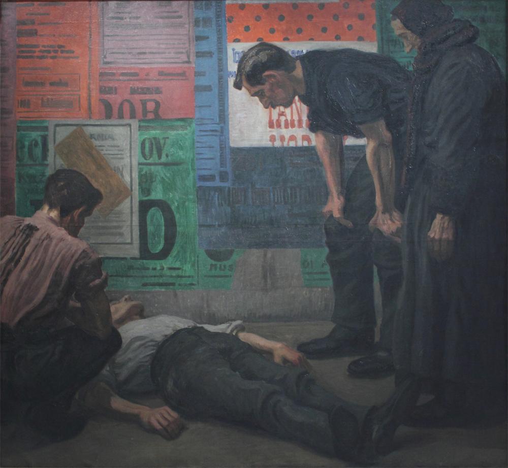 Karel Myslbek, Accident on the Building Site, 1909