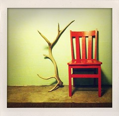 The Odd Couple (Matt Burrows) Tags: cameraphone red polaroid chair michigan toycamera cellphone instant grandrapids lonely elk antler redchair iphone grandrapidsmi shakeit fauxlaroid polaroidonized grflickr lovepolaroid iluviphone iphoneography iphoneographer shakeitphoto iphone3gs mattburrows iphonographie basementdiscoveries