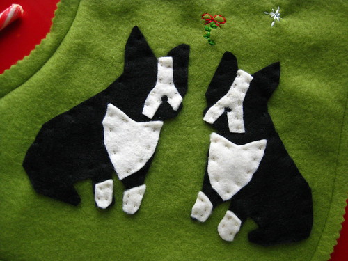 Boston Terrier/French Bulldog Kissing Under The Mistletoe Stocking