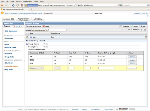 AWS Management Console - Security Groups @ 20091208