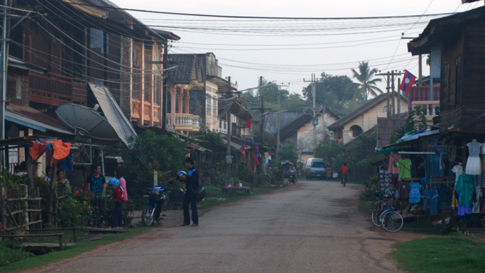 Main Street in Champasak, Laos