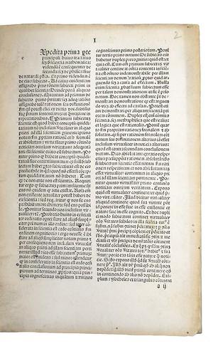 Opening page of text from Orbellis, Nicolaus de: Cursus librorum philosophiae naturalis [Aristotelis] secundum viam Scoti