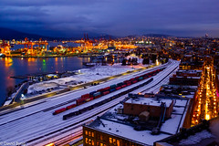 Port Metro Vancouver in the snow (david byng) Tags: helijet city vancouver 2017 sunset britishcolumbia winter canada