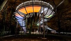 Brücke - Bridge (gabrieleskwar) Tags: brücke oberhausen outdoor bäume park abends bunt leuchten lichter niederrhein nrwgermany beleuchtung kaisergarten