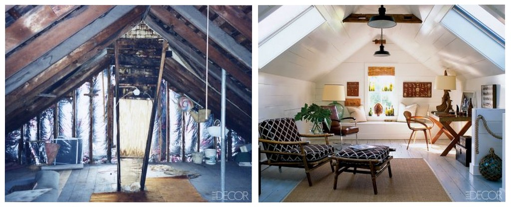 Attic makeover: Before & after Hamptons loft, from Elle Decor