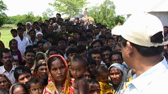 A Crowd Waits of Emergency Relief