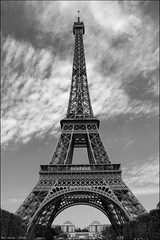 Eiffel Mountain (Ben Heine) Tags: blackandwhite paris france art tourism monument metal sepia architecture stairs corner photography high poem tour view angle geometry postcard capital eiffeltower tourist structure symmetry business experience poet symmetrical fer periphery cartepostale ferraille gustaveeiffel herbertnehrlich moneymaking benheine hubertlebizay hubzay flickrunited