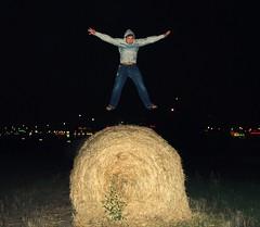 He Can Fly! (Krysta Shippelt (Larson)) Tags: city boy boyfriend field night dark lights fly crazy jump ryan hay  shippelt heisasuperheroilikehimawholebunch rskl2012 rskl2010