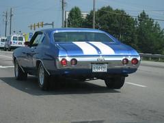 Chevelle SS (miahz) Tags: road blue white nova virginia driving antique stripes ss rear chevelle bumper chrome va spotted woodbridge dalecity daleboulevard