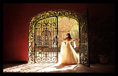 MARIAGE / WEDDING : The Gate ! :o) (Sebastien LABAN) Tags: wedding portrait white love face composition hair eyes travels gate cotedazur dress ceremony homer mariage odyssey shoulder glance 83 var sud straphael saintraphael travelsofhomerodyssey haircutlook freijus