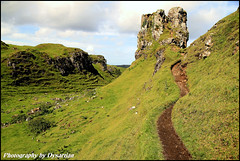 Skye Trip - The Cosmic Spiral in the Fairy Glen (Dysartian) Tags: green rocks butte sheep isleofskye path mystical geology spiritual nakedladi