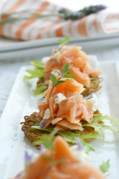 Angel Hair Pasta Cakes With Salmon and Lavender Goat Cheese
