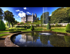 Dunrobin Castle (crymy) Tags: uk blue trees sky reflection green castle water grass gardens clouds canon scotland raw hdr golspie northhighlands dunrobincastle 3xp 40d canoneos40d crymy