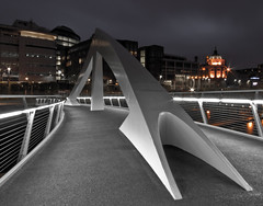 tradeston bridge - squiggly bridge, river clyde glasgow, clydeside, night view, contemporary glasgow architecture, , modern glasgow architecture, glasgow architects, long exposure (abbozzo) Tags: uk longexposure bridge orange architecture night design scotland riverclyde clyde crossing footbridge glasgow scottish illuminated explore sublime modernarchitecture afterdark sweeper architecturaldesi