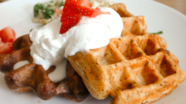 "six course dinner: ""Ancho Chile Sourdough Brownie Waffles"" or &quot..."
