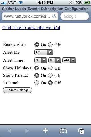 iPhone Siddur iCal Subscription Changes
