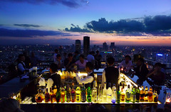 A cosmic atmosphere at the Moon Bar (Bn) Tags: moon bar night bottles cloudy bangkok champagne martini whiskey topf300 vodka marga