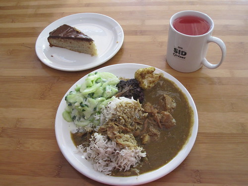 Lamb curry, rice, cucumber salad, banana cake, lemonade from the bistro - $6