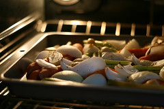 Vegetables for stock, after roasting