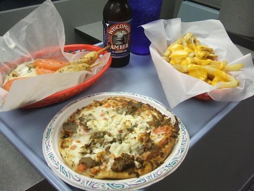 Pitza, cheese fries, gyro