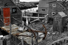 The Red Door... (The Nature of Things) Tags: ocean bw canada docks harbor novascotia nikond70s outhouse anchors cs3 photomatix bluerocks hdr3ex