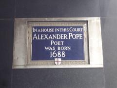 Photo of Alexander Pope blue plaque