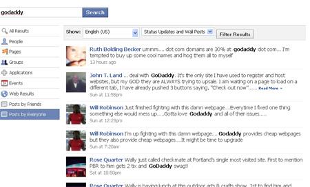 Facebok search example