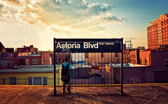 Astoria Blvd (isayx3) Tags: lighting new york nyc sunset newyork train subway evening nikon warm post natural queens astoria 24mm process friday f28 d300 ciy plainjoe isayx3
