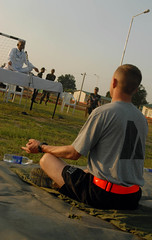 Yoga with Indian soldiers