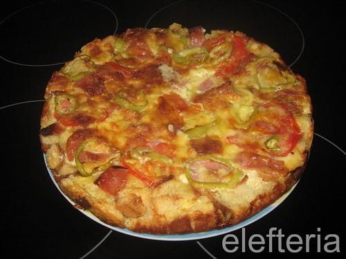 πιτσα η γρηγορη (με παλιο ψωμι)