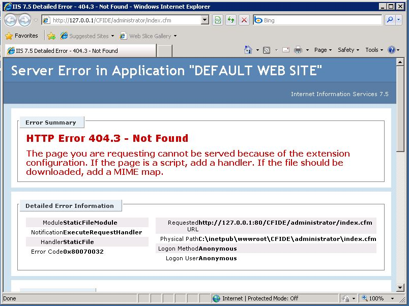 ColdFusion 9 error