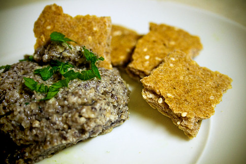 Mushroom Pate and Sesame Crackers