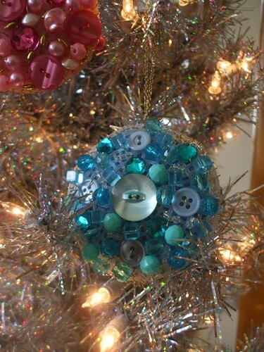 Bead + Button Sparkle Ornaments