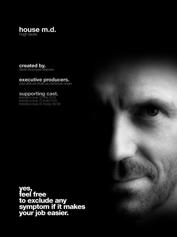 House M D  Helvetica TV Series Poster | The Logo Smith