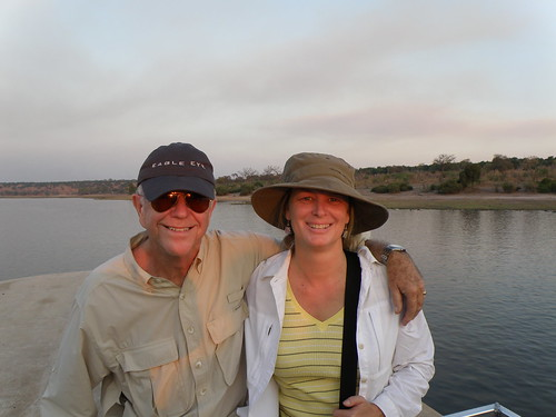 with hubby, Ben, on the Chobe River in Botswana