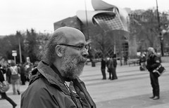 bill (teh hack) Tags: camera bw canada film analog square 50mm bay edmonton batch rally protest first nb alberta churchill hp5 f2 analogue omar flickrmeet guantanamo gitmo rokkor chrisps khadr
