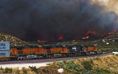 Shoving away from the Flames (K-Szok-Photography) Tags: california color canon outdoors fire socal canondslr bnsf locomotives cajon railroads inlandempire cajonpass alltrains flickrdiamond sbcusa alltypesoftransport kenszok