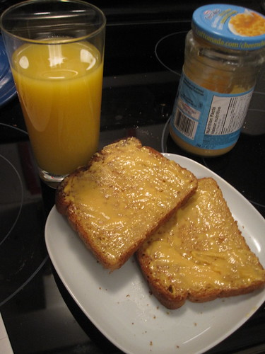 fake cheese toast and orange juice