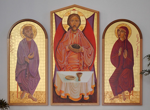 Saint Mary Roman Catholic Church, in Trenton, Illinois, USA - altar triptych