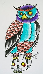 old school owl tattoo design (craigy lee) Tags: new old school color colour london tattoo ouch skull design flash oldschool tattoos lee owl craigy
