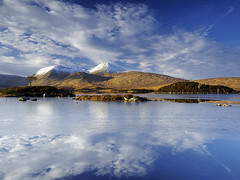 The Black Mount & Lochan na h-Achlaise ~ Rannoch Moor, Scotland (Martin Sojka .. www.VisualEscap.es) Tags: morning blue sky lake snow tree green nature colors grass clouds landscape golden scotland frozen highlands tripod vivid olympus hills filter glencoe moor polarizer grad zuiko hitech gitzo e30 rannochmoor rannoch 1260 zd blackmount heliopan lochannahachlaise hachlaise 1260mm