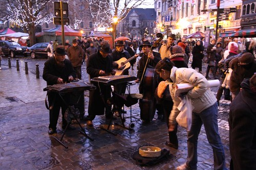 Street musicians in Brussels.