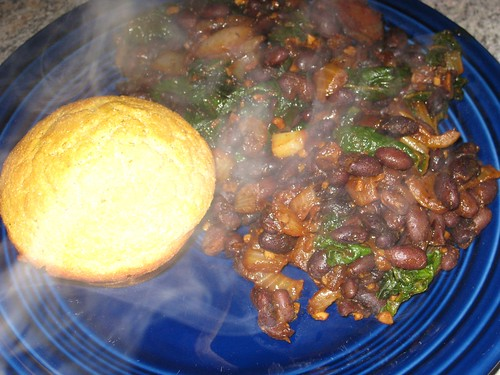 Black beans with chard, cornbread muffins