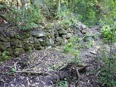 Sentier de montée au col Sud du Castellacciu : murets de soutènement et enclos