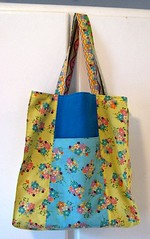 Jane Market Bag #2 (twolittlemagpies) Tags: blue yellow bag jane market sewing thrift